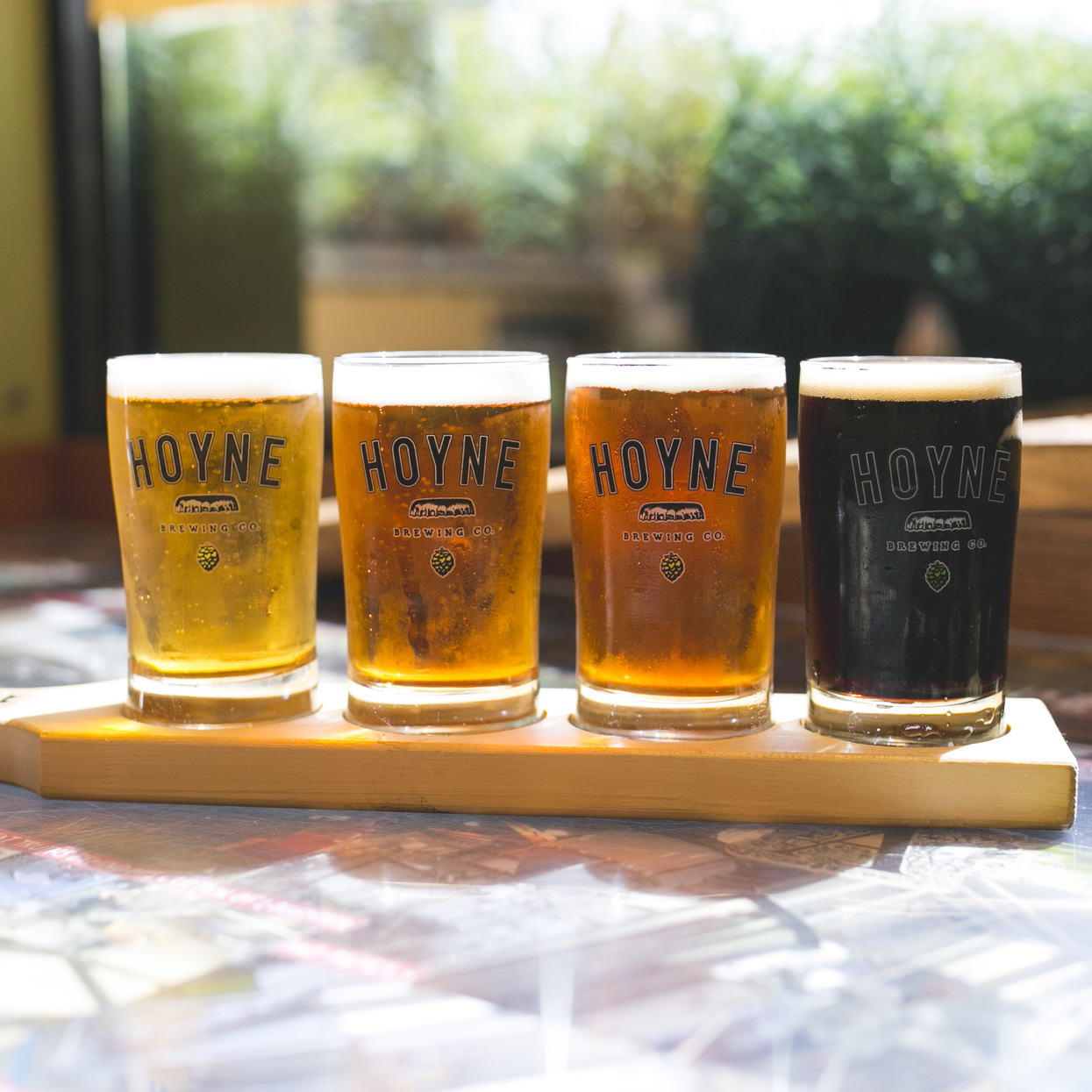 Beer flight from Hoyne Brewing Co.
