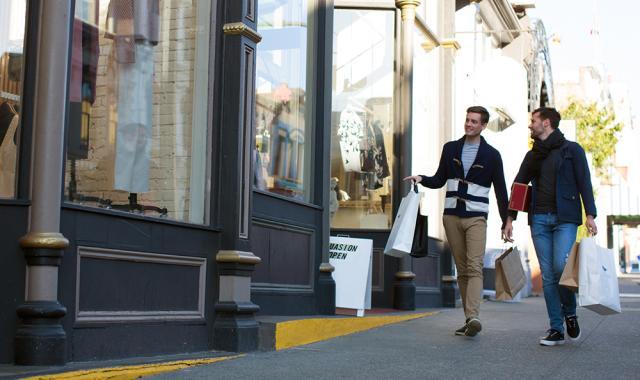 Lower Johnson Street shopping men
